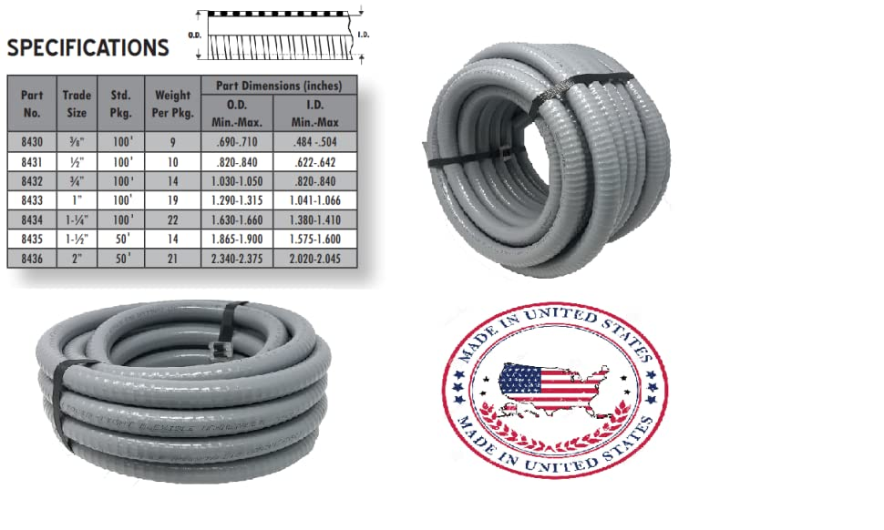 Sealproof 1-Inch Flexible Non-metallic Liquid-Tight Electrical Conduit Type B, UL Listed, 1