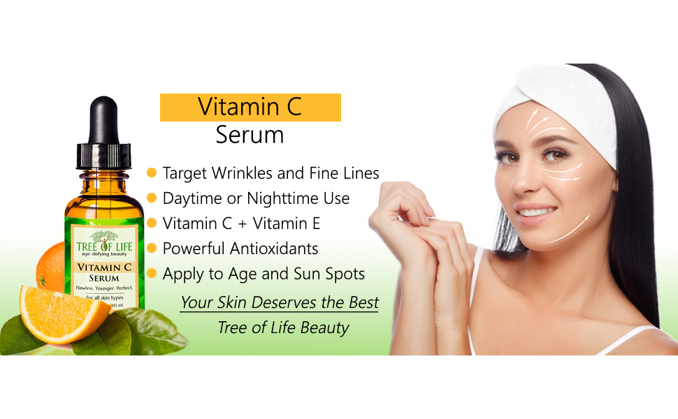 Vitamin C Serum for Face with Hyaluronic Acid - Anti Aging Anti Wrinkle Facial Serum with Natural