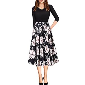 1031894a251e Women Vintage Casual Swing 3/4 Sleeve Patchwork Floral Midi Dress ...