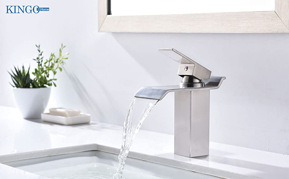 Brushed Nickel Faucet Waterfall Bathroom Spout Sink One: KINGO HOME Commercial Lavatory Single Handle Vanity