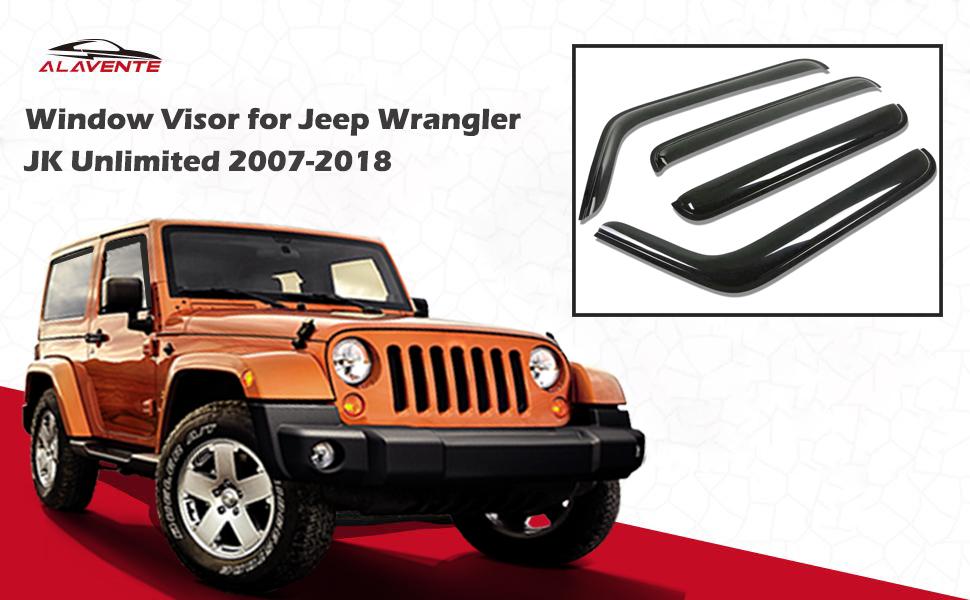 XBEEK Side Window in-Channel Deflectors Ventvisor Visor for 2007-2018 Jeep Wrangler JK Accessory 2 - Door