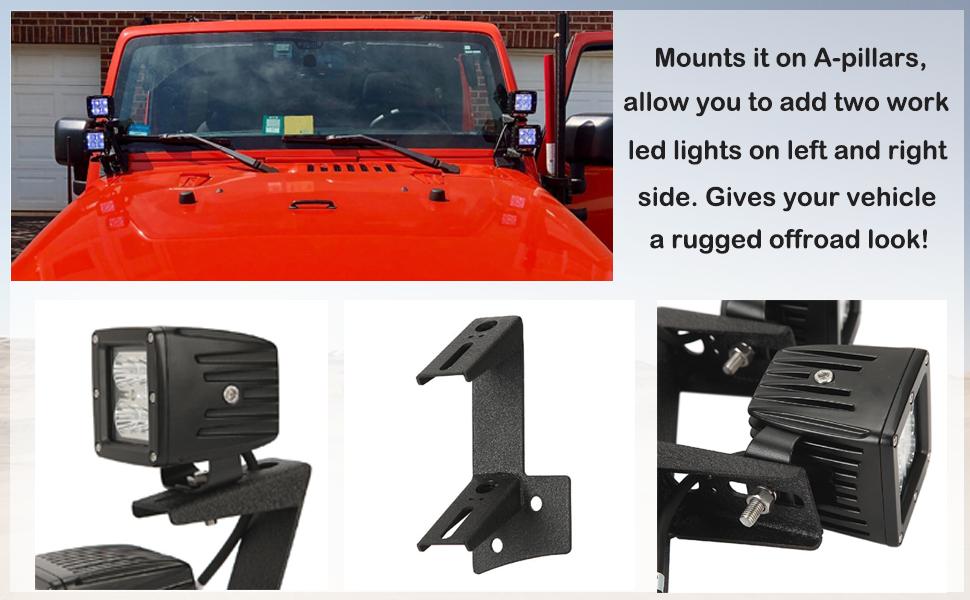 For Jeep Wrangler 2007-2018 2DR//4DR Windshield A-Pillar Dual Light Mount Bracket