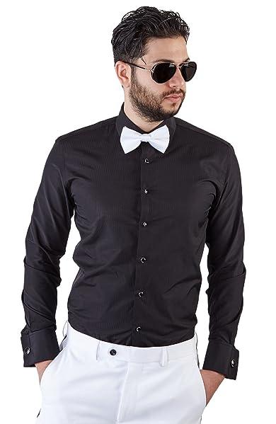 604580843e193 Azar Man Mens Tailored Slim Fit Black Tuxedo Shirt French Cuff. Women s  contrast black bow tie shirt dress ...