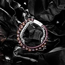 Brown Bead Leather Bracelet