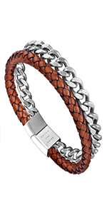 Steel Leather Bracelet