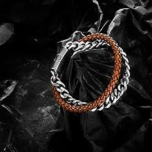 Orange Leather Steel Bracelet