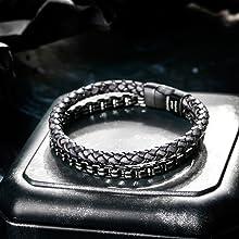 Black Crafted Leather Bracelet