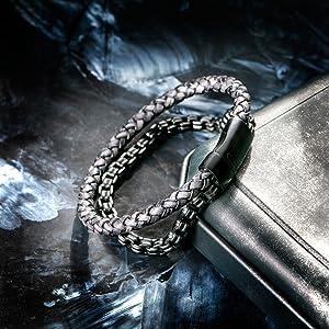 Black Leather Steel Bracelet