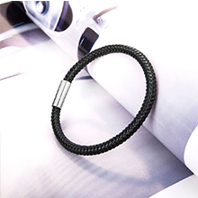 black leather silicone bracelet