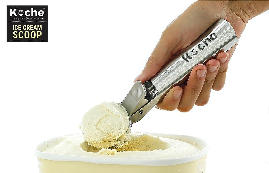 Amazon Com Kuche Easy Trigger Stainless Steel Ice Cream Scoop