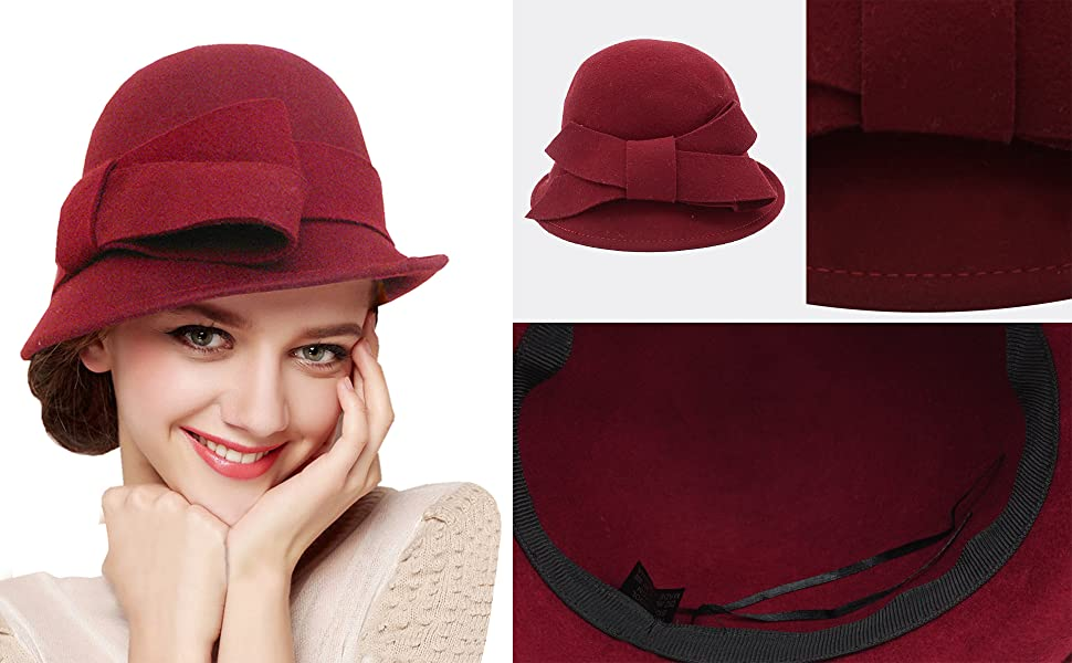 BRAND NEW LADIES RED AND BLACK  WOOL WINTER CLOCHE STYLE HAT MELISSA