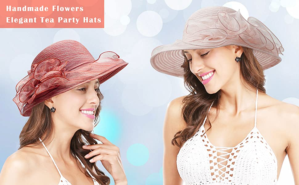 Women's Organza Hat Church Fascinator Bridal Tea Party Wedding Hat Dress Cap