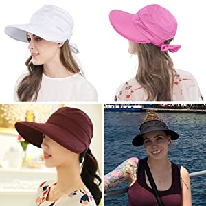 646599b3113 Women s Big Wide Brim Sun Hat UV Protection Visor Sun Hat ...