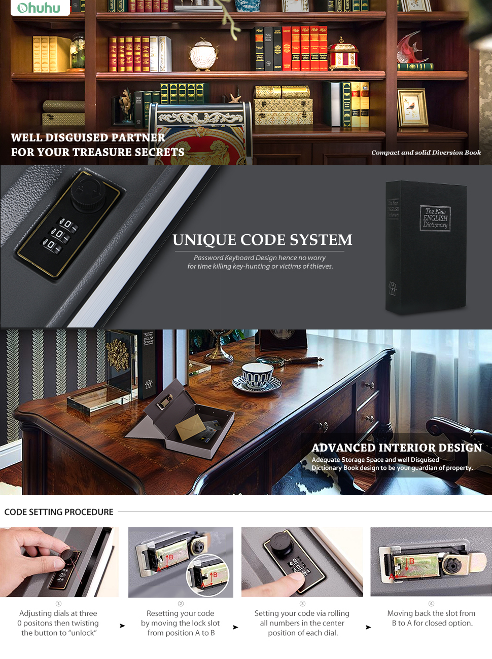 Book Safe With Combination Lock Ohuhu Dictionary
