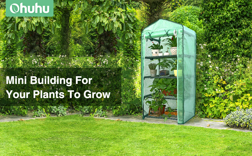 Ohuhu Mini Greenhouse, Small Plant Greenhouses, 4 Tier Rack Stands Portable  for Outdoor & Indoor
