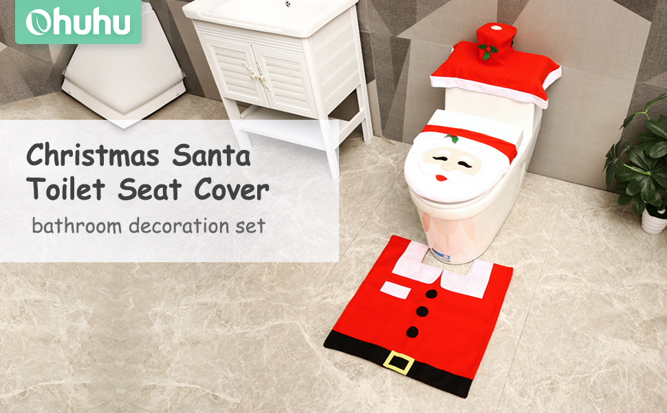 Amazing Ohuhu Santa Toilet Seat Cover 4 Piece Christmas Toilet Seat Cover And Rug Set Santa On The Toilet Ornament Santa Claus Toilet Seat For Happy Pabps2019 Chair Design Images Pabps2019Com
