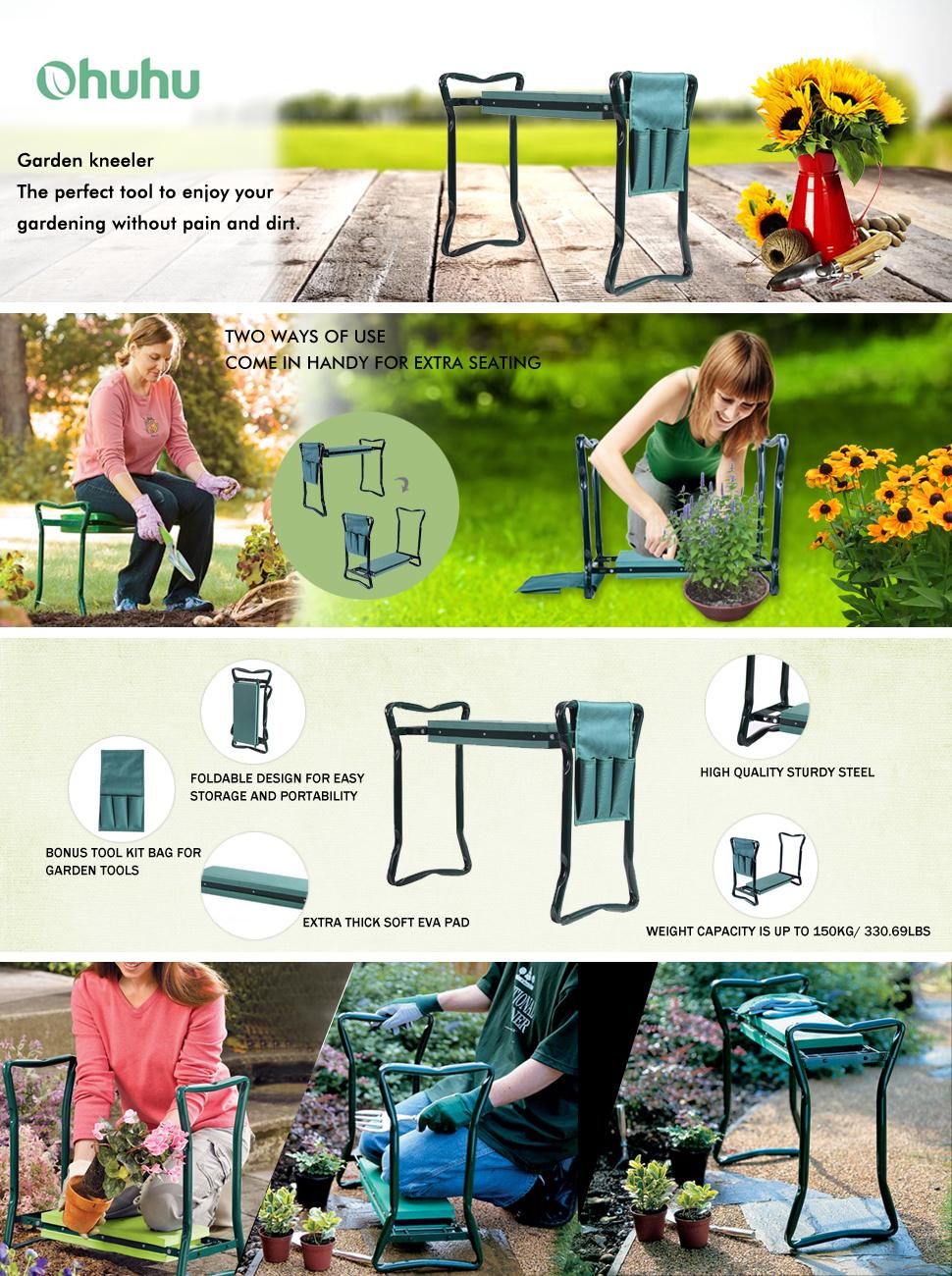 Amazon.com: Banco plegable 2-en-1 para jardín, de la ...