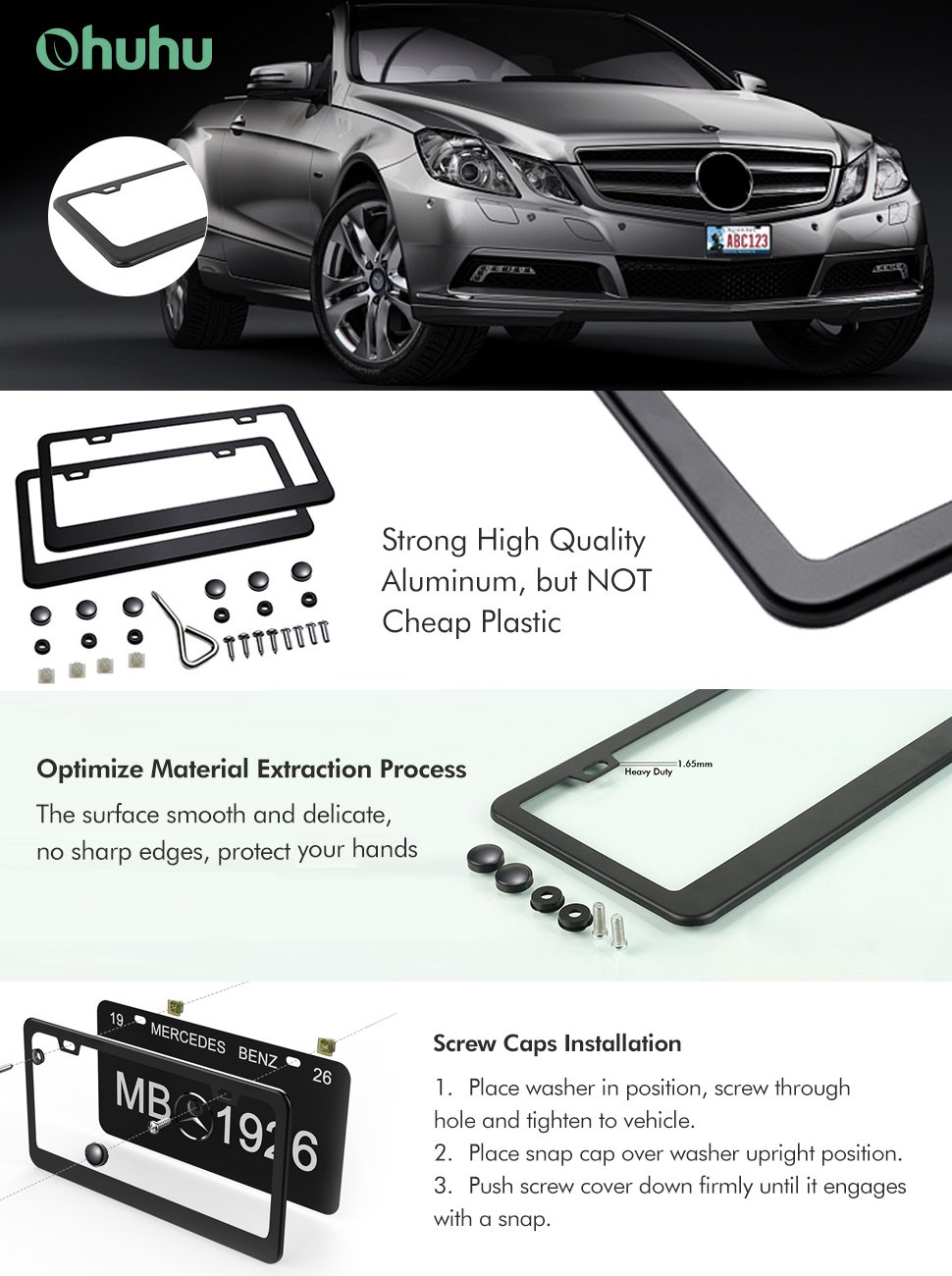 Amazon.com: Ohuhu Matte Aluminum License Plate Frame with Black ...