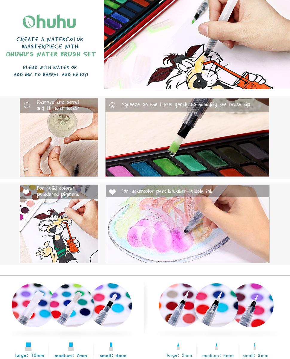 Amazon.com: Ohuhu Water Coloring Brush Pens, Set of 6 Brush Tips ...