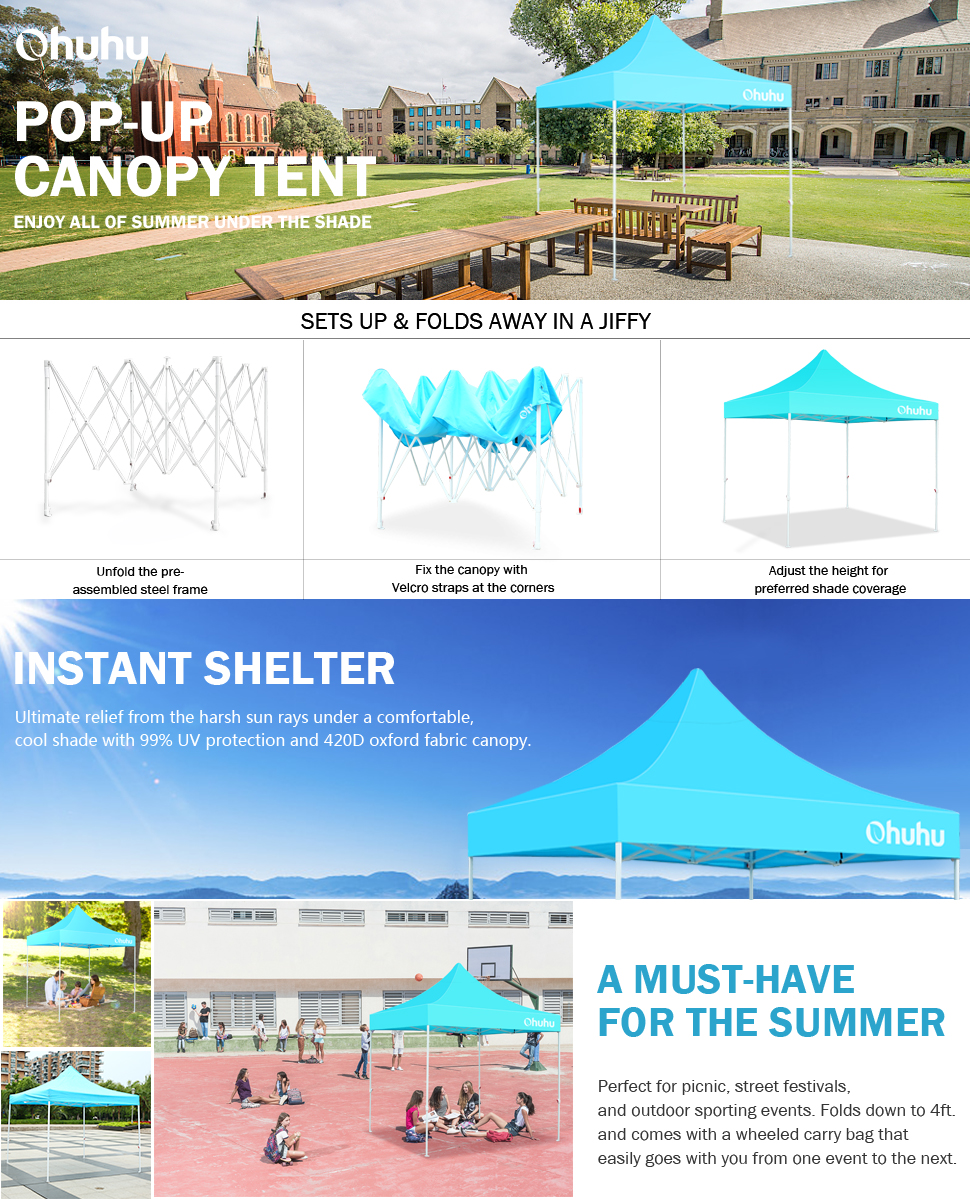 Ohuhu New Pop-up Instant Shelter Canopy Tent W/ Wheeled Carry Bag 10 by 10 Ft Sky Blue  sc 1 st  Amazon.com : instant shelter canopy - memphite.com