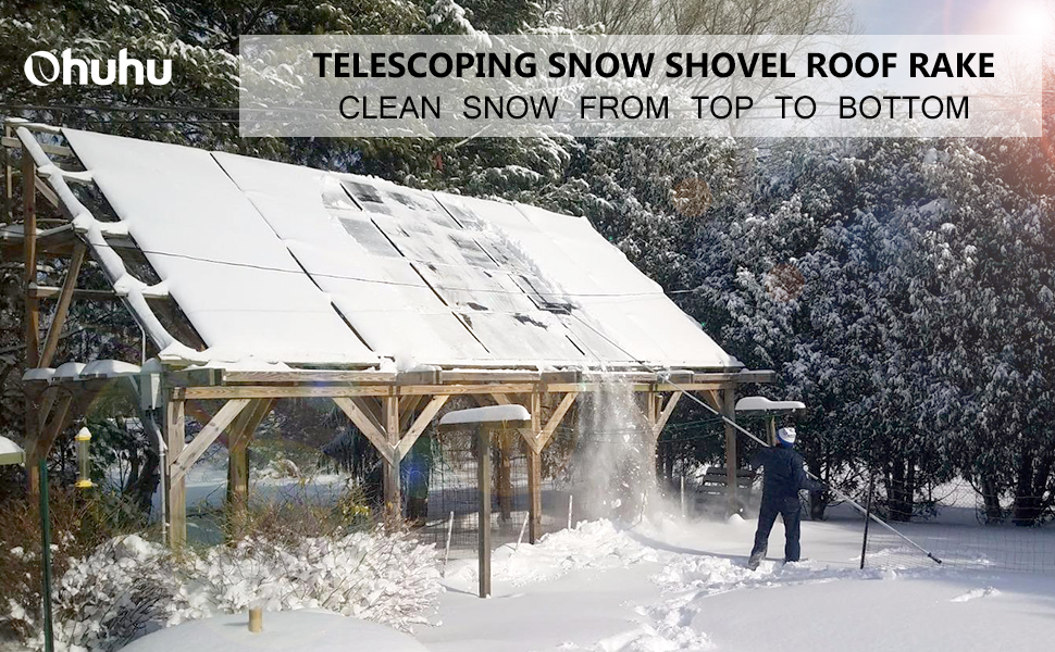 Ohuhu 21 Inch Twist N Lock Telescoping Snow Shovel Roof Rake