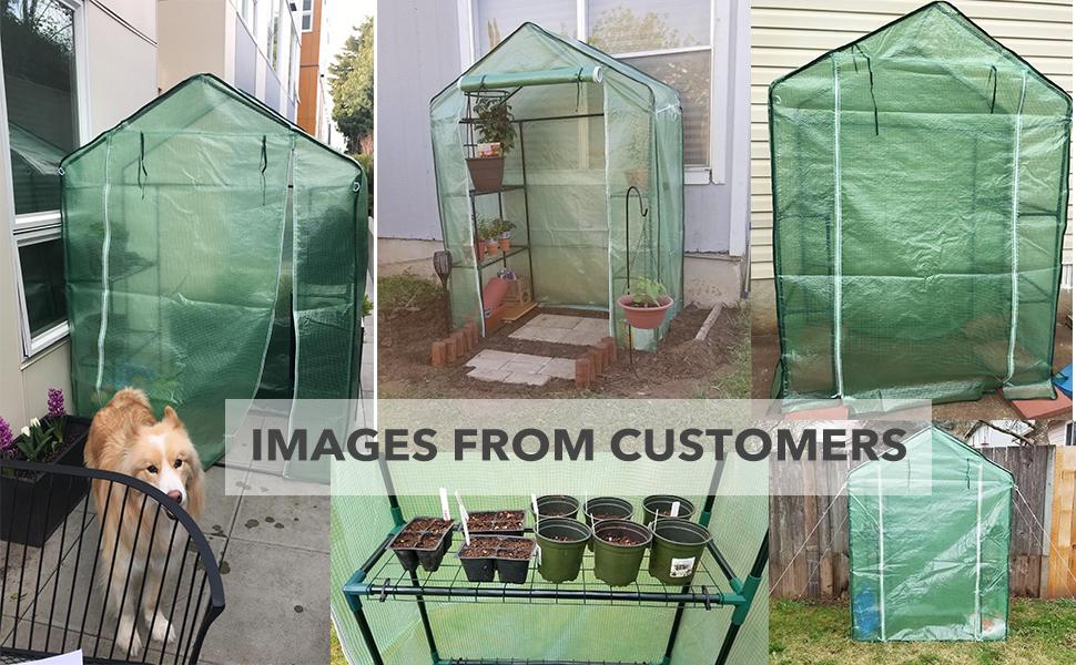 Green 4.9 x 2.4 x 6.4 FT 3-Tier 6-Shelf Stands Garden Green House Ohuhu Small Walk-in Plants Greenhouse