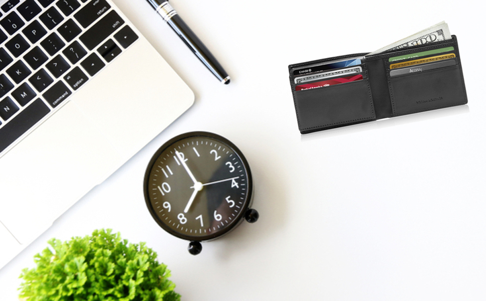 Slim Wallet Vegan Faux Leather Bifold Wallets For Men Gifts For Him RFID Blocking