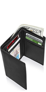 Genuine Leather Trifold Wallets For Men RFID Blocking Mens Wallet Gifts For Him