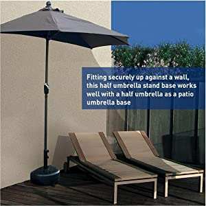 STRONG AND DURABLE   Patio Umbrella Base Includes Powder Coated Steel Pole  Holder With Two Tightening Screws For Better Stability Of Umbrella.