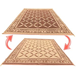 RV Camping Mats Are A Brown/beige Decorative Moroccan Pattern, Measuring 6u0027  X 9u0027 And Are For Indoor Or Outdoor Use. This Reversible Patio Mat Can Be  Used As ...