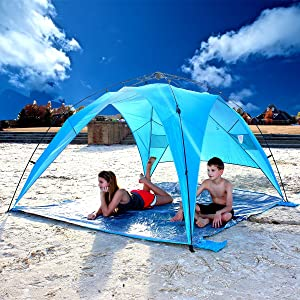 Sand stakes included and sewn on sand pockets securely hold our beach tents in windy conditions at the sports field or at the beach. & Amazon.com: EasyGo Shelter XL - Instant Beach Umbrella Tent Pop Up ...
