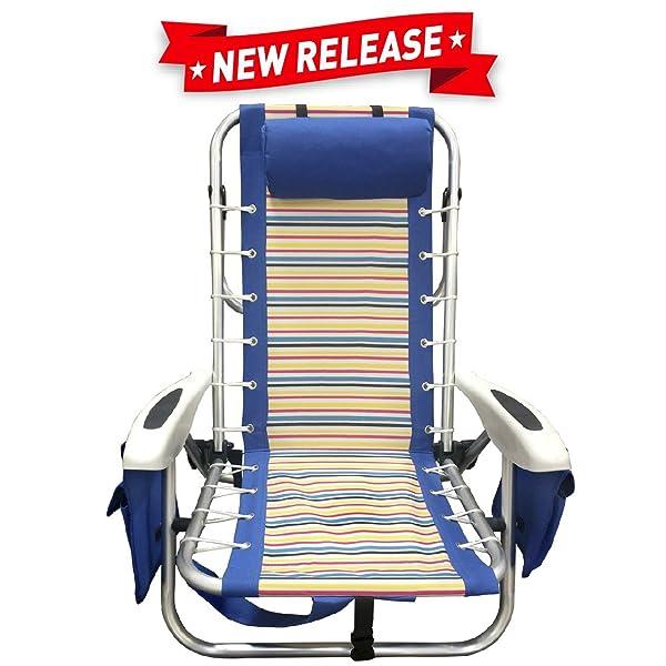 EasyGoProducts EasyGo Beach Chair u2013 Heavy Duty Aluminum Backpack Beach Chair-4 Position Lightweight Folding Chair (Striped)  sc 1 st  Amazon.com & Amazon.com: EasyGoProducts EasyGo Backpack Beach Chair u2013 Heavy Duty ...