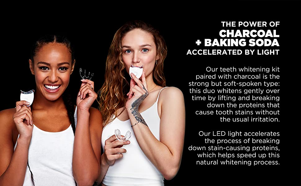 24K White Charcoal Teeth Whitening Kit - The Power of Charcoal and Baking Soda Accelerated by Light