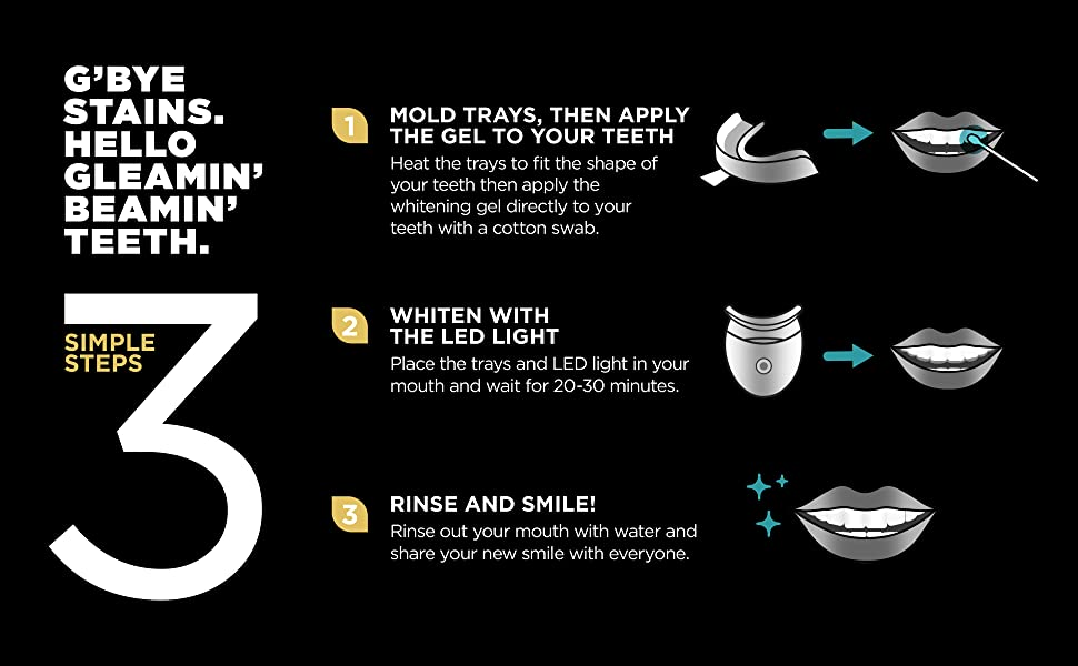 24K White Charcoal Teeth Whitening Kit - G'bye Stains. Hello Gleamin' Beamin' Teeth. 3 Simple Steps