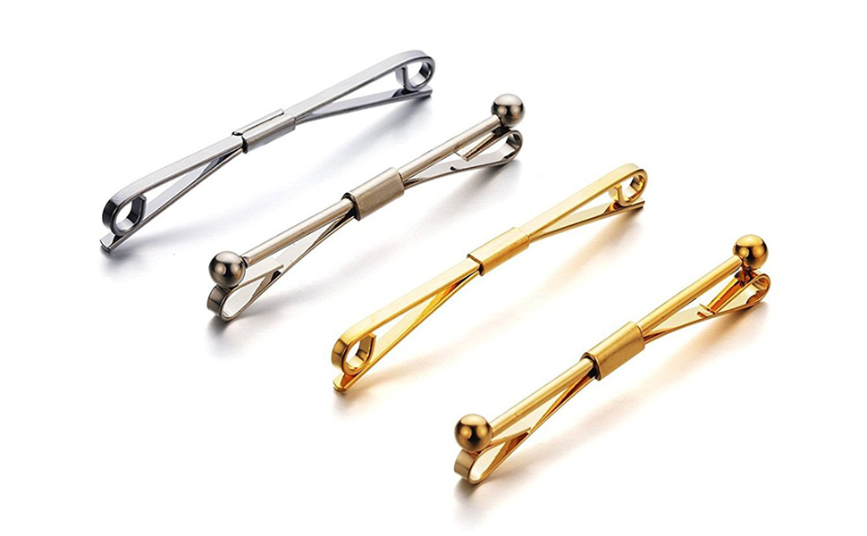 Edwardian Men's Accessories AnotherKiss Mens Silver Tone and Gold Tone Tie Collar Bar Pin Set - 4 Pcs $13.99 AT vintagedancer.com