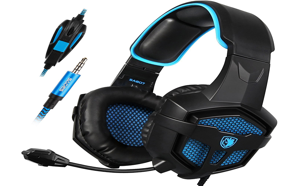 PS4 Gaming Headset SADES SA807 Stereo Headphone 3 5mm Wired with Mic for PC  Mac New Xbox one (Black Blue)