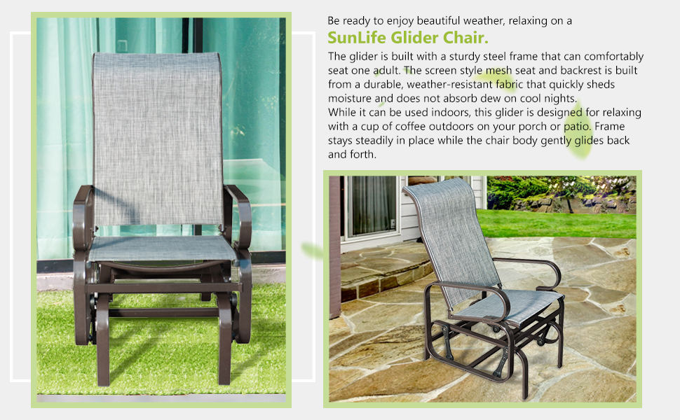 Amazon Com Sunlife Patio Glider Rocking Chair Outdoor