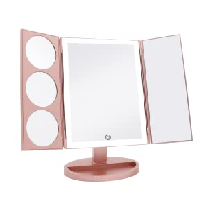 tri-fold makeup mirror with magnification