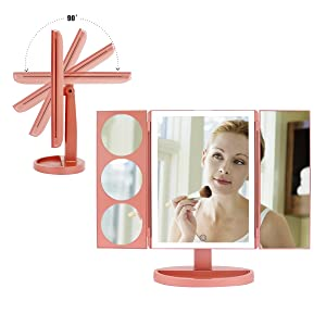 360° horizontally and 180° vertically adjustable cosmetic mirror is 5 mirrors in one,
