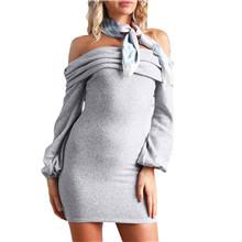 kaifongfu Short Dress,Women Off Shoulder Long Sleeve Elastic Stretchy Bodycon Mini Dress