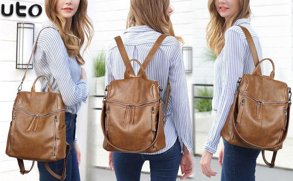 6041b7e15df3 Amazon.com: UTO Women Backpack Purse PU Washed Leather 3 Ways Ladies ...