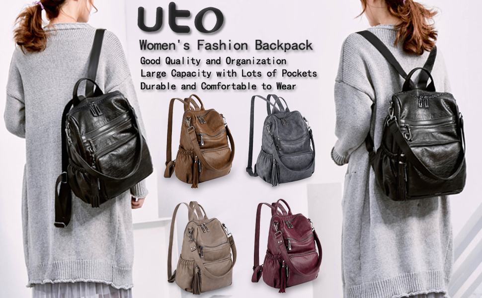 UTO Women Backpack Purse PU Washed Leather Convertible Ladies Rucksack Double Zi
