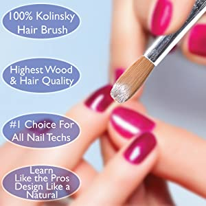 Professional 100% Kolinsky Acrylic Nail Brush For Gel 3D Powder Designs Nail Art Sculptor Manicure Pedicure Wooden Handle High Quality (#10)
