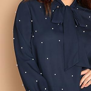 blue long sleeve polka dot blouse shirt womens
