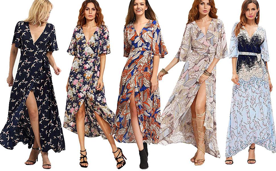 SUPER FLATTERING FLORAL TIE-WAIST MAXI DRESSES