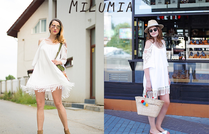 d6dc08cafd1 Milumia Women s Summer Cold Shoulder Crochet Lace Sleeve Loose Beach ...