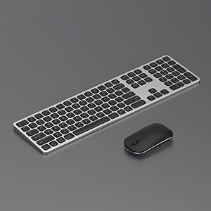 full size aluminum rechargeable wireless keyboard mouse (2)