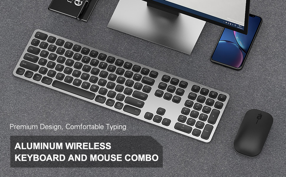 full size aluminum rechargeable wireless keyboard mouse