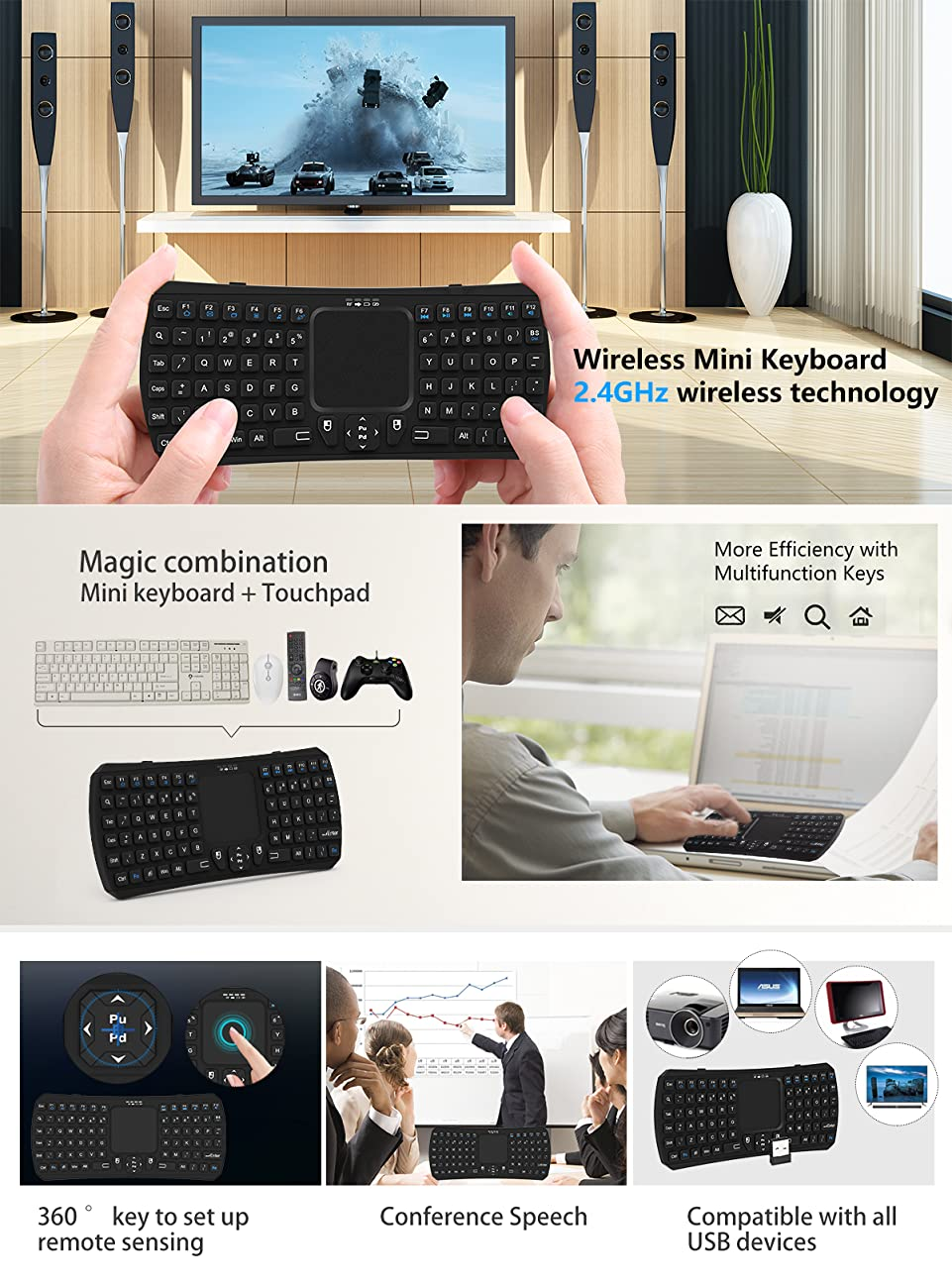 This Is A New High Grade 24G Mini Keyboard With Touch Pad Features Reliability Ease Of Use And User Comfort Wireless Will Exceed Your