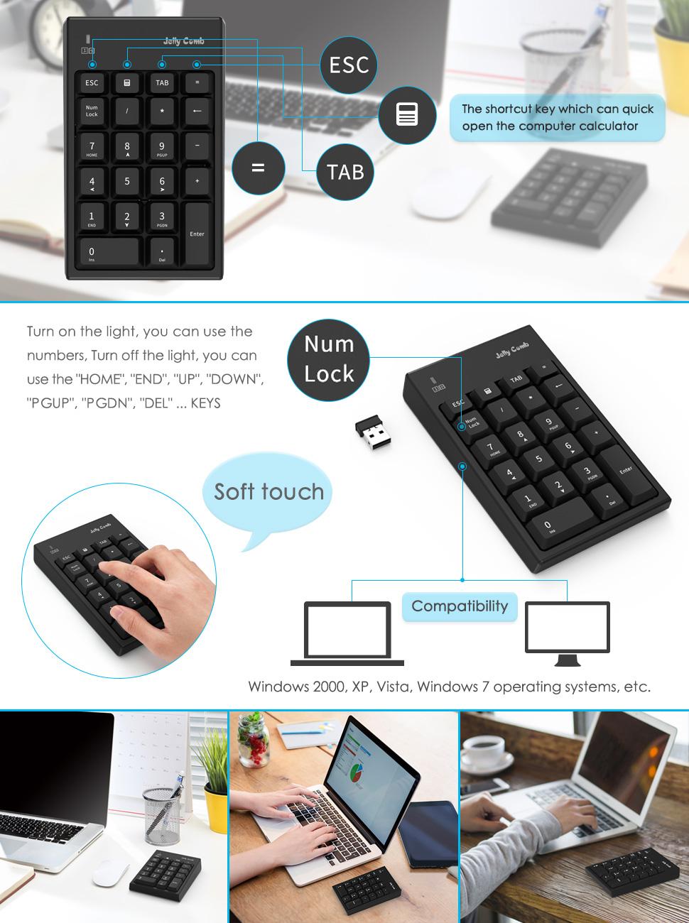 number pad n016 jelly comb 22 keys wireless usb multi function numeric keypad. Black Bedroom Furniture Sets. Home Design Ideas